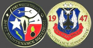 Military Challenge Coins - Maintenace Squadron Air Force Texas